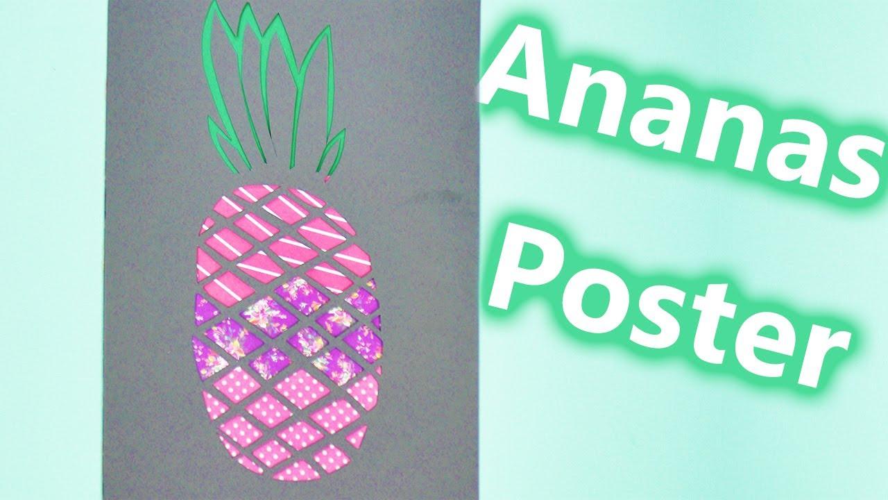 poster selber machen ananas sommerliche zimmerdeko basteln airbrush schablonen selber machen. Black Bedroom Furniture Sets. Home Design Ideas