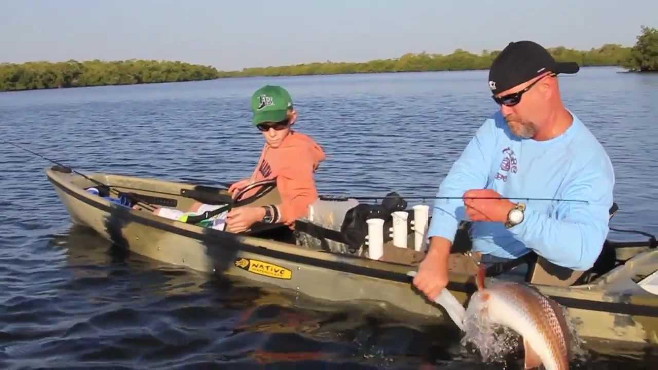 Native tv 39 fishing with kids 39 youtube for Cabelas fishing kayak
