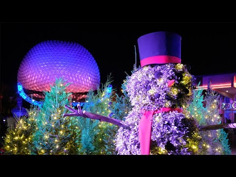 Download Youtube: Nighttime Christmas Decorations at Epcot International Festival of the Holidays 2017