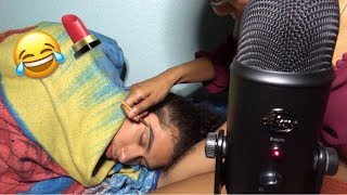 ASMR | Doing My Boyfriends Makeup While He's Sleeping | PRANK | ( HE WAS SO CONFUSED 😂)