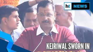 Watch: Arvind Kejriwal takes oath as Delhi CM for third consecutive time