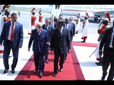 Arrivée de S.E.M. Béji Caïd Essebsi Président de la Tunisie, pour prendre part au 5e Sommet UA-UE
