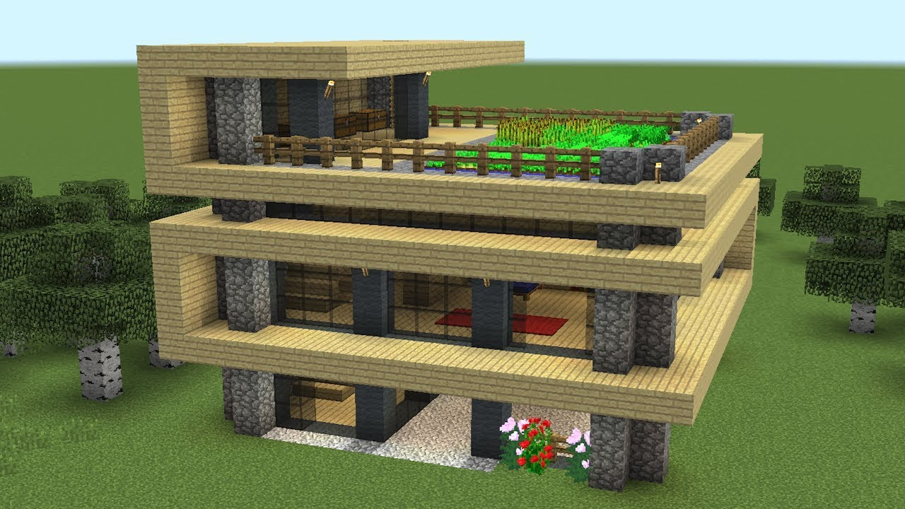 Minecraft How To Build A Modern Survival House Youtube