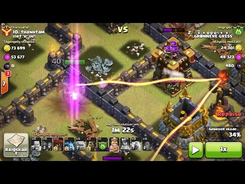 3 star. Epic!! Lightning & Earthquake destroys CC/Inferno/Queen and archer tower