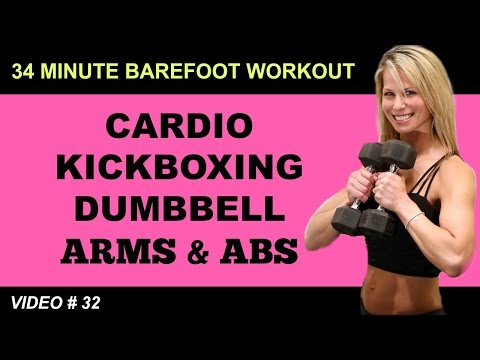Cardio Kickboxing Workout  | ARMS ABS WORKOUT | Barefoot Workout