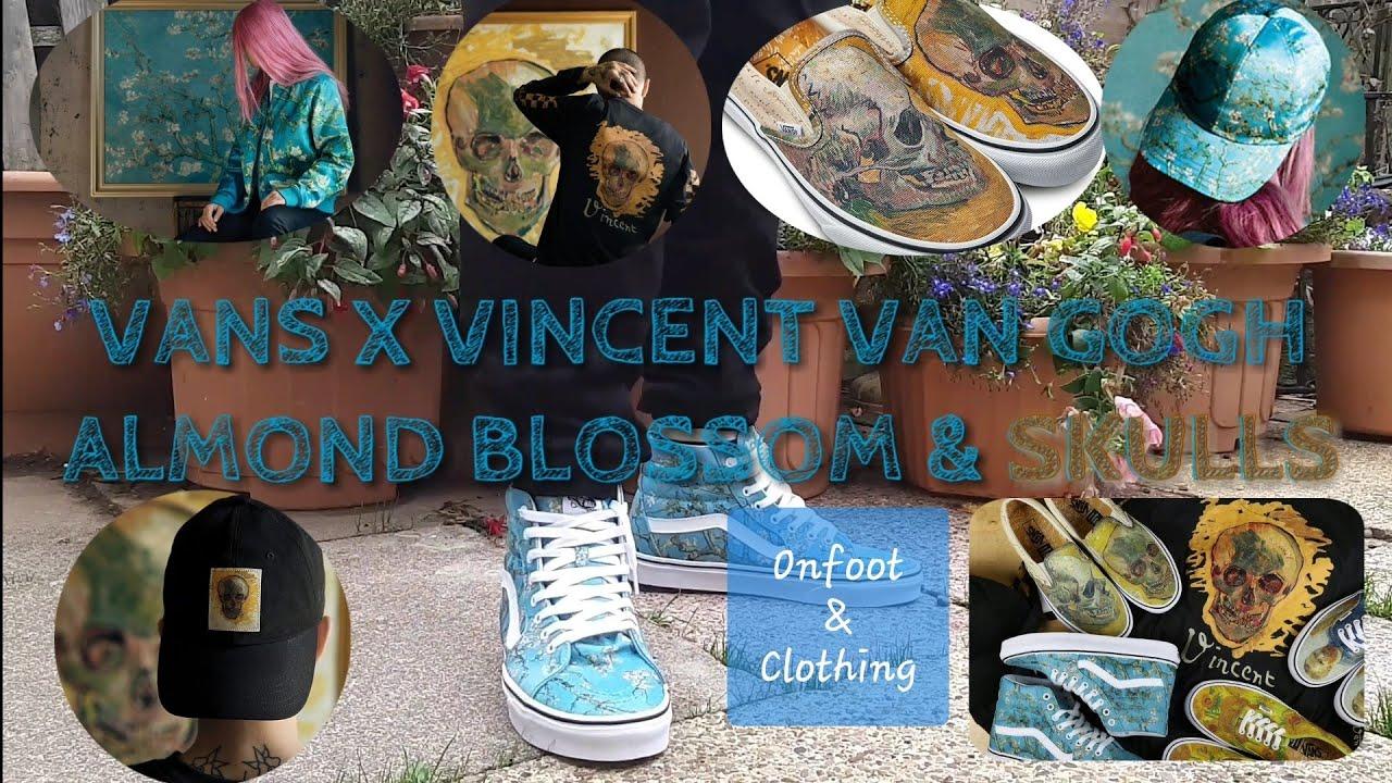 013d16b23bf Vans X Vincent Van Gogh Museum Collaboration Almond Blossom Skull Skulls  Slip On SK8-HI Jacket Caps