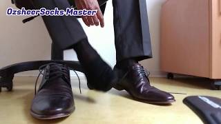 After a whole day work with black TNT OTC sheer socks in leather dress shoes