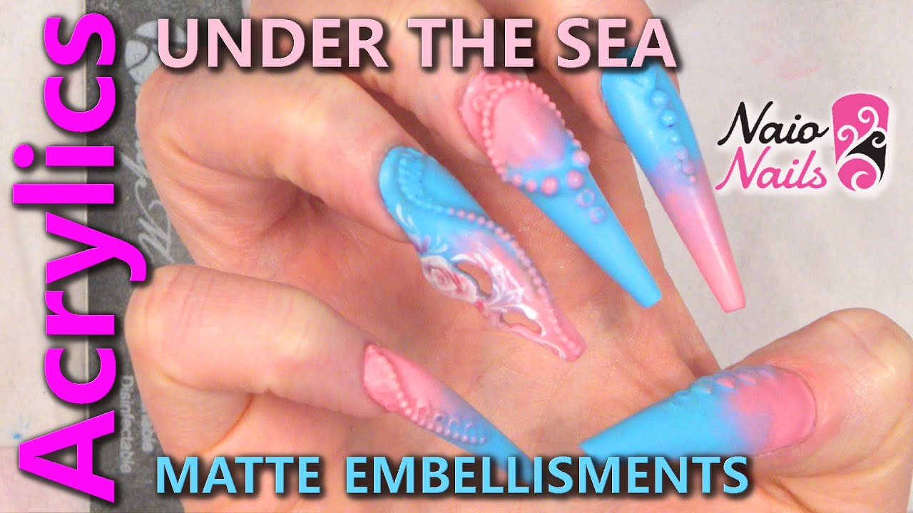 Under The Sea Nail Design With Matte Embellishments Youtube