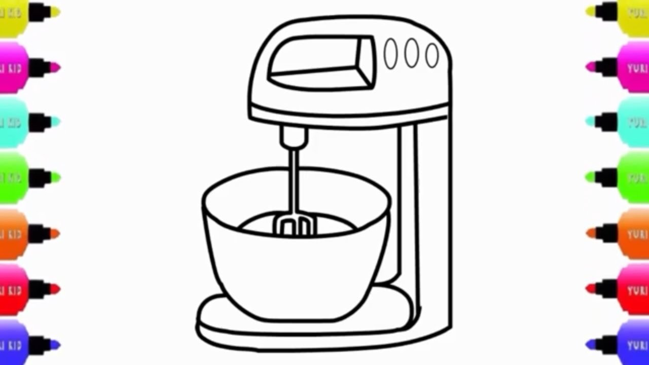 Food Processor Drawing For Kids Learn Colors For Kids Coloring