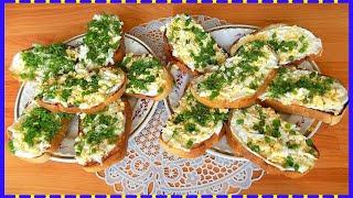 Закусочные бутерброды с чесноком и яйцом
