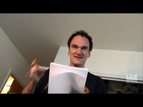 Quentin Tarantino reads a draft of