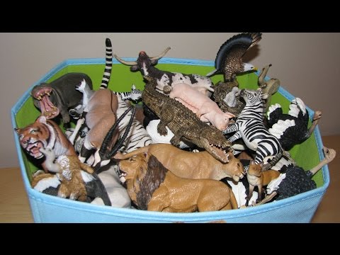 My Animal Toy Collection in the Box Schleich Safari Wildlife ZOO Farm Animals Toys