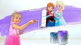 Prenses Elsa tarzında Nastya yeni prenses odası