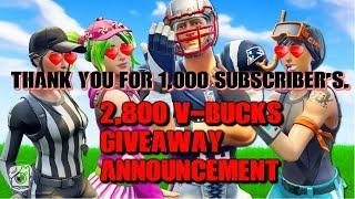 PS4 Fortnite U. K Stream em directo | Obrigado por 1K Subs | 2.800 V-Bucks Giveaway Anuncicment