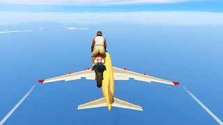LANDING ON AN AIRPLANE! (GTA 5 Mods Funny Moments)