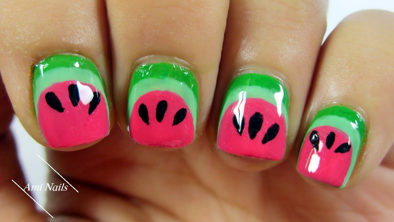 Easy Watermelon Nail Art Tutorial Ami Nails Youtube
