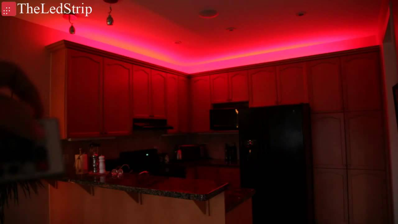 Rgb Led Tape Flexible Smd 5050 Behind Crown Molding Youtube