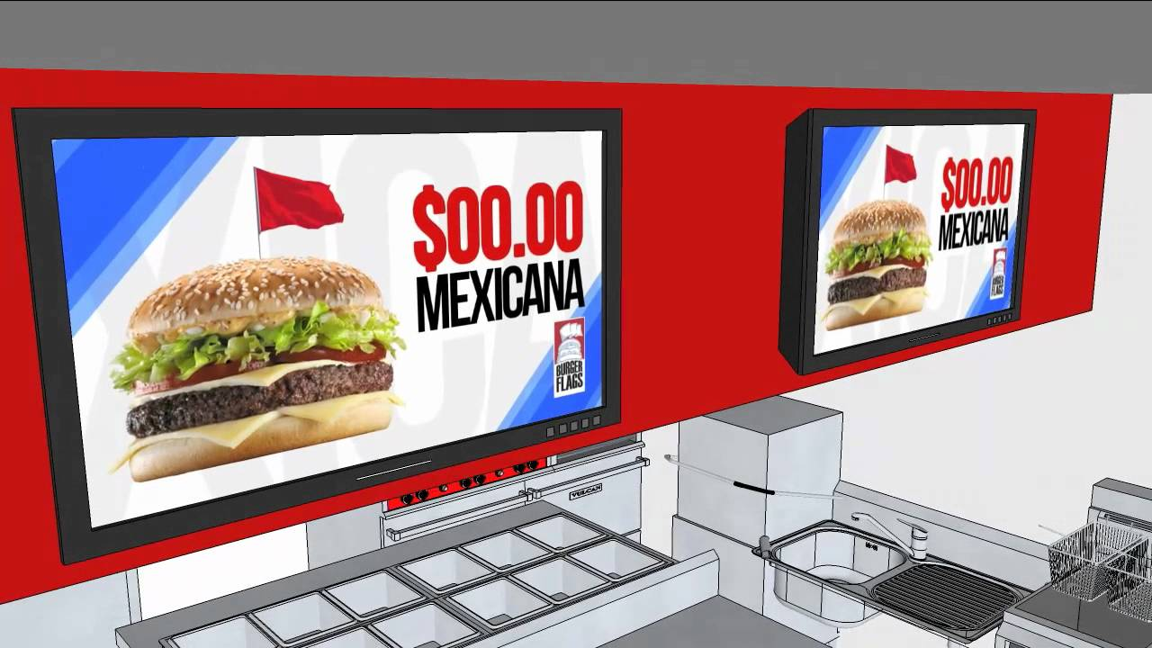 Dise o 3d del local hamburguesas burger flags youtube for Sillas para local de comidas rapidas