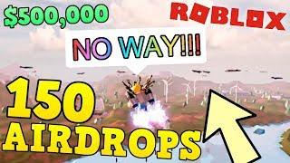 EU SPAWNED 150 AIRDROPS!! * EU QUEBREI O JOGO * | Jailbreak de Roblox