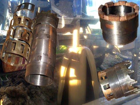 Бурение скважины гранит колонковой трубой, алмазная керновая коронка, кольца кернорвателя