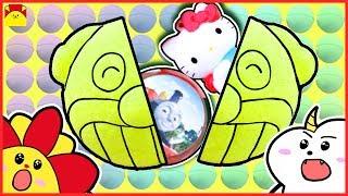 ハローキティ アンパンマン トーマス★大量のびっくらたまごを入れてみた★アニメおもちゃ さんさんきっず bath bomb Hello Kitty Tomas Anpanman toys thumbnail
