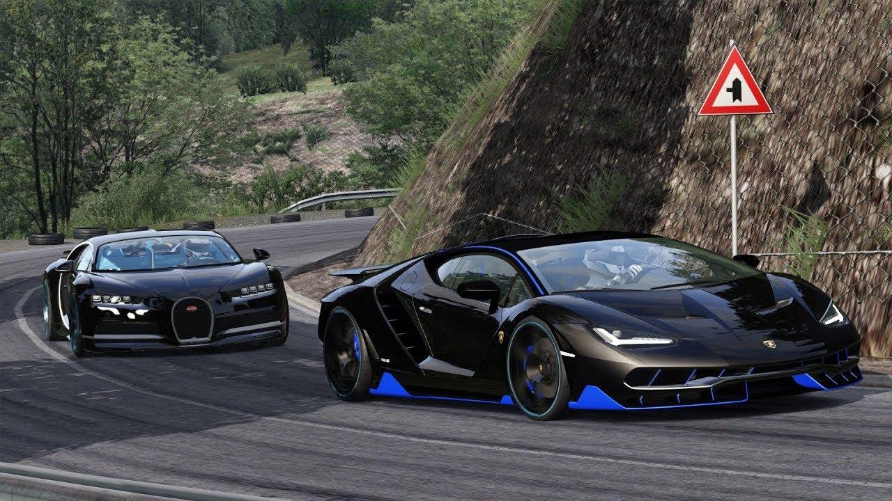 Bugatti Chiron Vs Lamborghini Centenario On A Mountain Road Etto Corsa