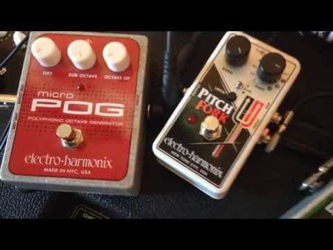 EHX Pitch fork compared to Micro Pog, with guitar and Overdrive