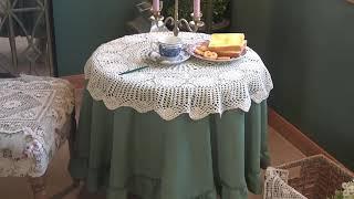 포벤트 대형사이즈 손뜨개 테이블보 식탁보 빈티지 주방 …