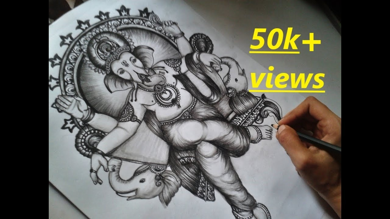 Ganpati Bappa Sketch Charcoal Pencil Sketch Youtube