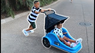 Brother Driving Sister's Stroller Disaster at Sea World! FamousTubeKIDS