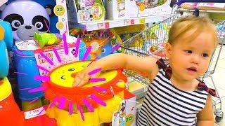 Funny Baby doing shopping Supermarket Song for children Pretend