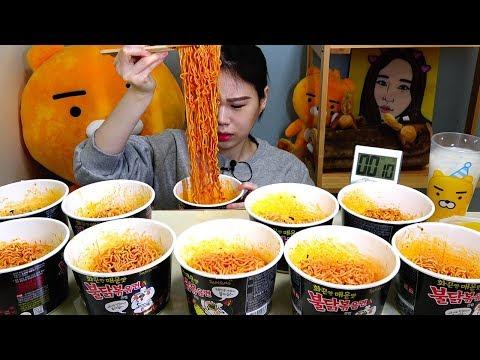 SUB) 도전 불닭볶음면10컵 Korean Fire Noodle Buldak Bokkeummyun 10 Challenge Mukbang eating show