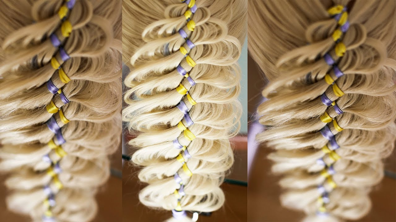 Коса с двумя лентами Причёска в школу Hair tutorial