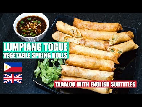 How to make Spring Rolls - Vegetable Spring Rolls - Beansprout Recipe - LUMPIANG TOGUE