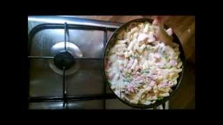 Penne Pasta With Bacon, Egg And Peas