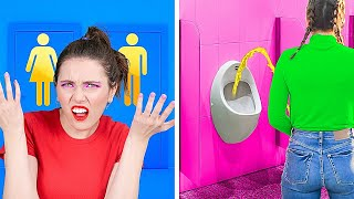 Rich Girl VS Broke Girl! Awkward Moments And Crazy Bathroom Hacks By A PLUS SCHOOL