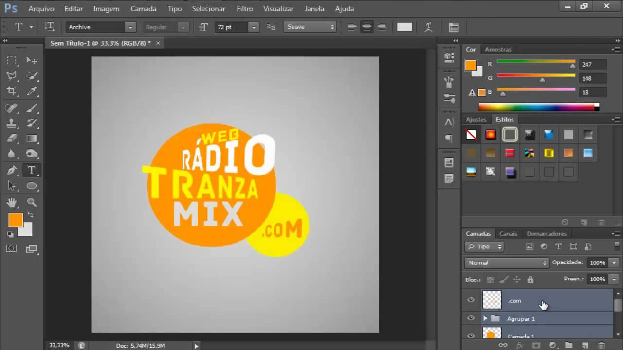 tutorial criando logotipo photoshop cs6 youtube