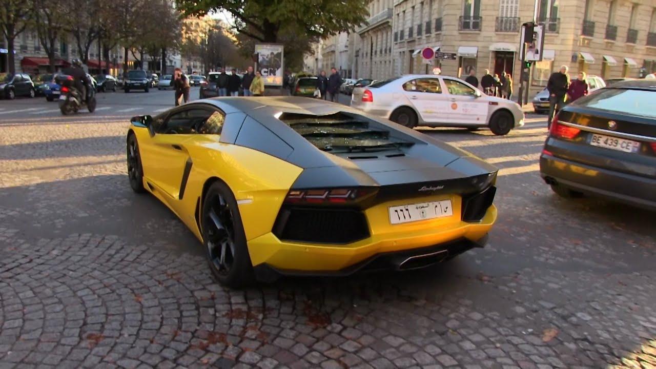 Saudi Black And Yellow Lamborghini Aventador Flame Revs