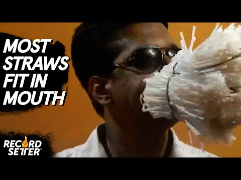 World Record: Most Straws Fit In Mouth At Once