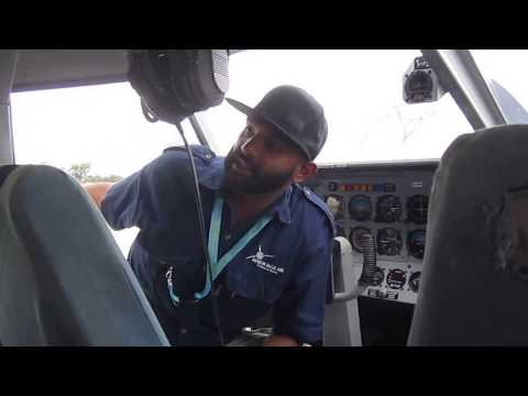 Cute: Safety briefing on Botswana bush plane