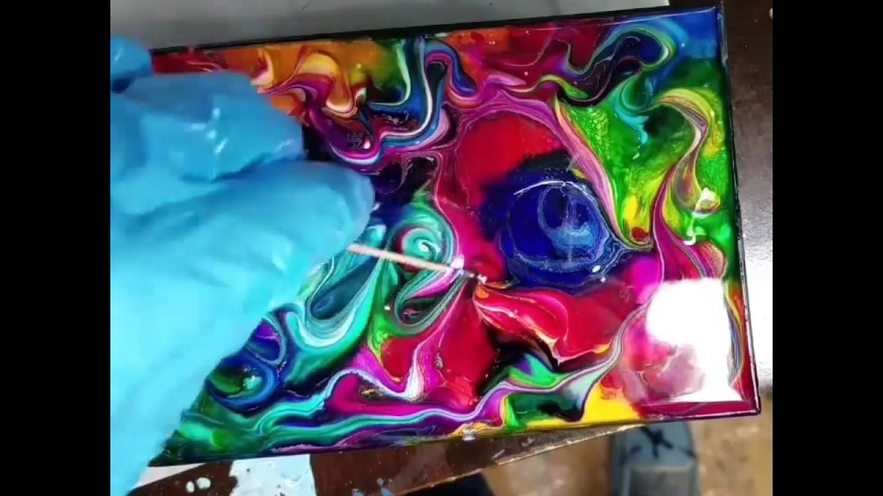 Fluid Painting RAINBOW MARSHMALLOWS Resin Art With Alcohol Inks - Coloring resin with alcohol ink