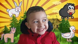 Tomy visiting Animal Farm | Learn Farm Animals Names & Sounds For Kids