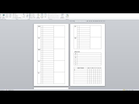 DIY Week On Two Pages Personal Inserts | Microsoft Word
