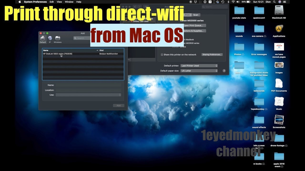 How to connect to a HP Deskjet GT 5820 printer through direct wifi in Mac OS