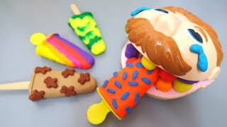 Learn Colors with Doctor Drill Eating Ice Cream Needs Dentist Play Doh Toys