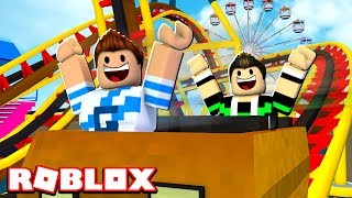 WE WENT TO THE AMUSEMENT PARK IN ROBLOX!!