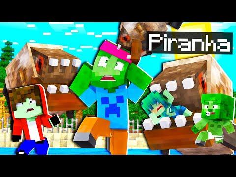 Une ARMÉE de PIRANHA envahi notre monde Minecraft ! 🐟 Je me fais manger la tête ! 😨