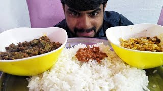Indian Food Eating Eggs Lady Finger Curry Mango Pickle Wi White Rice Eating Show | Yummy Foods Club