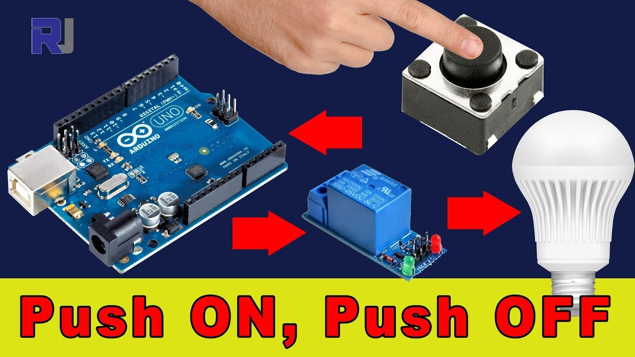 Using Arduino Turn AC bulb with push button On and OFF with relay