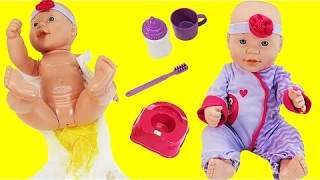Baby Doll Potty Training Pees in Diaper and Potty Toilet Drinks and Bedtime Routine